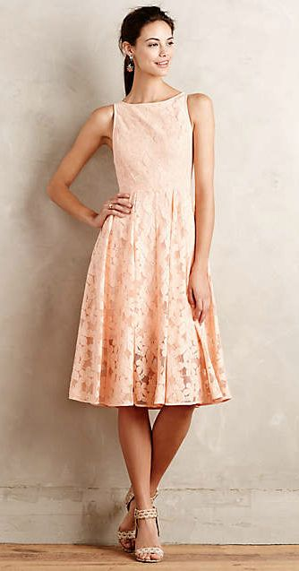 Peach lace dress tanith dress from anthropologie for Anthropologie wedding guest dresses