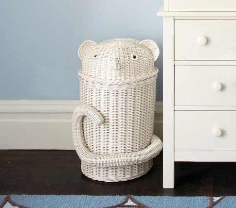 Monkey Rattan Hamper: why have a laundry hamper when you can have a monkey one? (Pottery Barn)