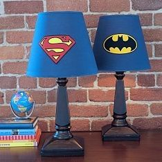Awesome superhero theme for a boy's room! Maybe find superhero comic book styled fabric and re-do lamp shades?