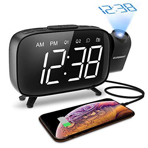 Fm Radiowecker Elegiant Projektionswecker Digitaler Wecker Tischuhr 3 Stufen Dimmer Dual Alarm Und Snooze Fm R Mit Bildern Projektionswecker Digital Wecker Radiowecker