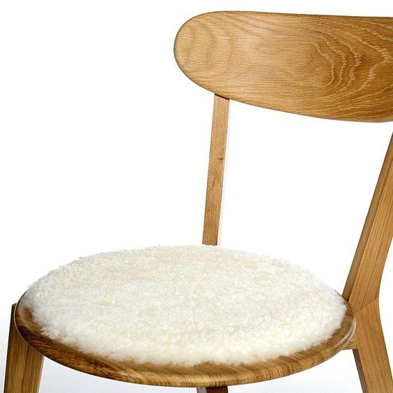 Sitzkissen rund Schaffell weiß ca D:35 cm (Bezug: 100% Schurwolle)