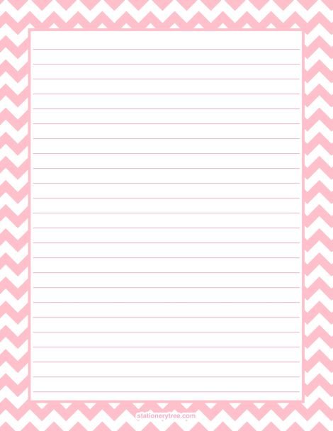 Printable pink chevron stationery and writing paper Multiple – Printable Writing Lines