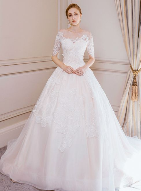Champagne Ball Gown Tulle Appliques Short Sleeve Wedding Dress