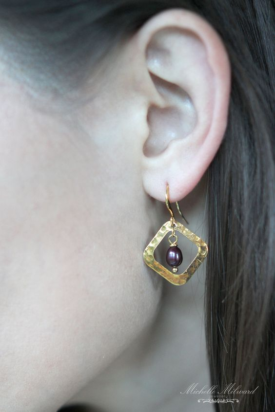 Goldplated+Hammer+Finish+Pearl+Earrings+by+MichelleMilward+on+Etsy,+$34.50