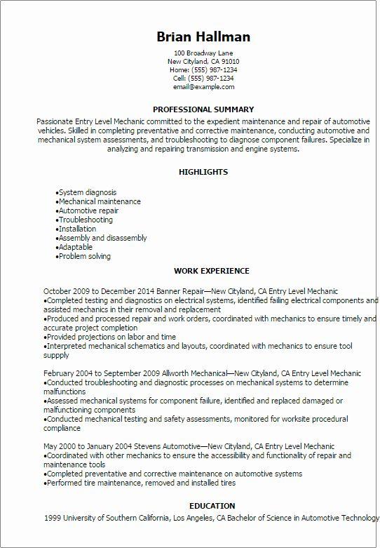 Entry Level Customer Service Resume Unique Automotive Resume Templates To Impress Any Employer Teaching Resume Job Resume Samples Resume Examples