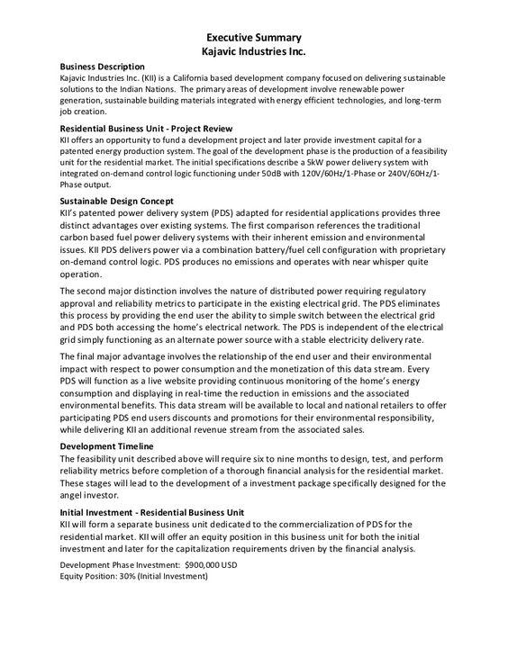 Executive Summary Example Kajavic Industries Executive Summary Template Executive Summary Example Executive Summary