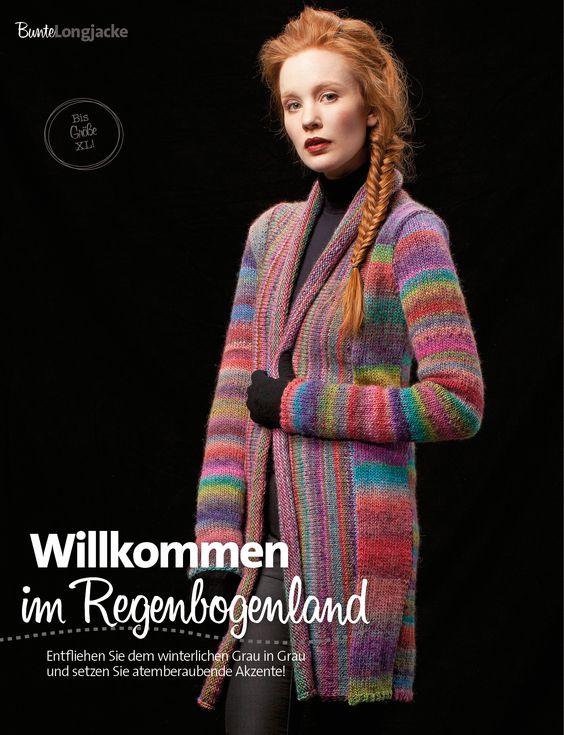 Bunte Longjacke Lang Yarns, Garn Mille Colori http://www.bpa-sportpresse.de/fantastische-strick-ideen-style-edition-sonderheft-01-2014.html