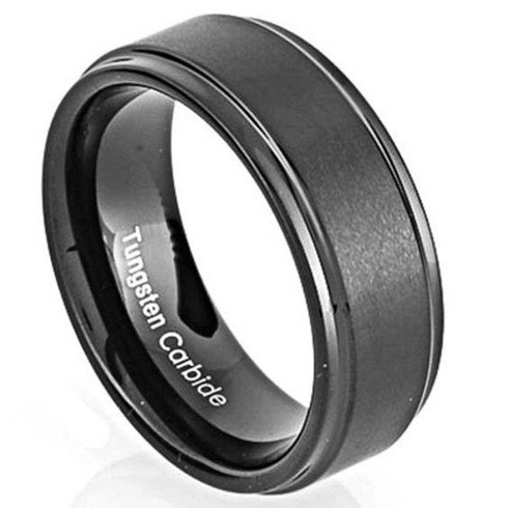 Mens Tungsten Carbide Black Matt Center W/ High Gloss Beveled Edges Comfort Fit Wedding Band - 8mm Ring Sizes 8 -13 by TyingTheKnotbyClaude on Etsy https://www.etsy.com/listing/224716306/mens-tungsten-carbide-black-matt-center