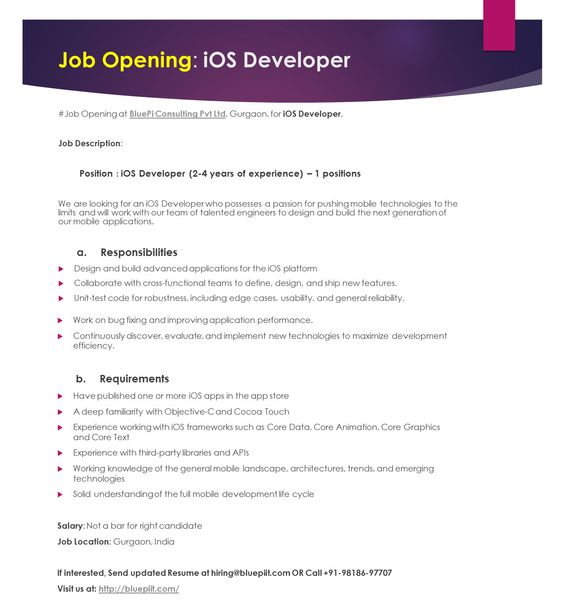 ios developer 2 6 years of experience 1 position send your updated resume at hiringbluepiitcom or call 91 98186 97707 or pinteres