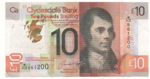 UNC /> Robert Burns P-New Scotland POLYMER Clydesdale Bank 10 pounds 2017