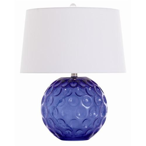 Arteriors Caprice Cobalt Glass Lamp with White Shade