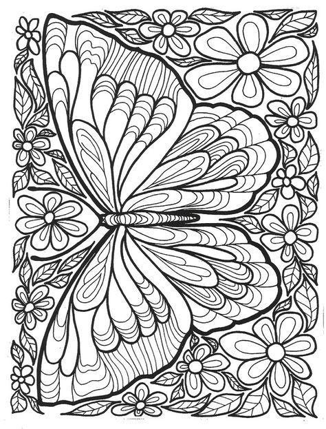 Schmetterling Und Blumen Blumenzeichnung Buchseite Blumen Kostenlose Erwachsenen Malvorlagen