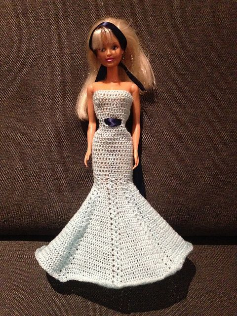 Free Download Crochet Ravelry Fashion Doll Mermaid Dress Pattern By Maz Kwok Barbie Clothes Patterns Crochet Doll Dress Barbie Dress Pattern
