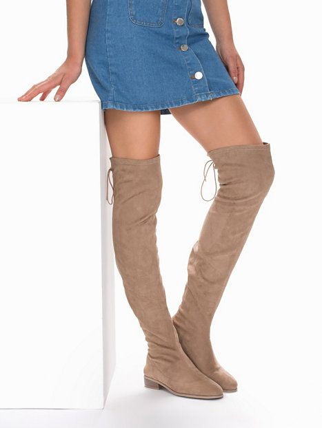 flat thigh high boot nly shoes brown grey everyday