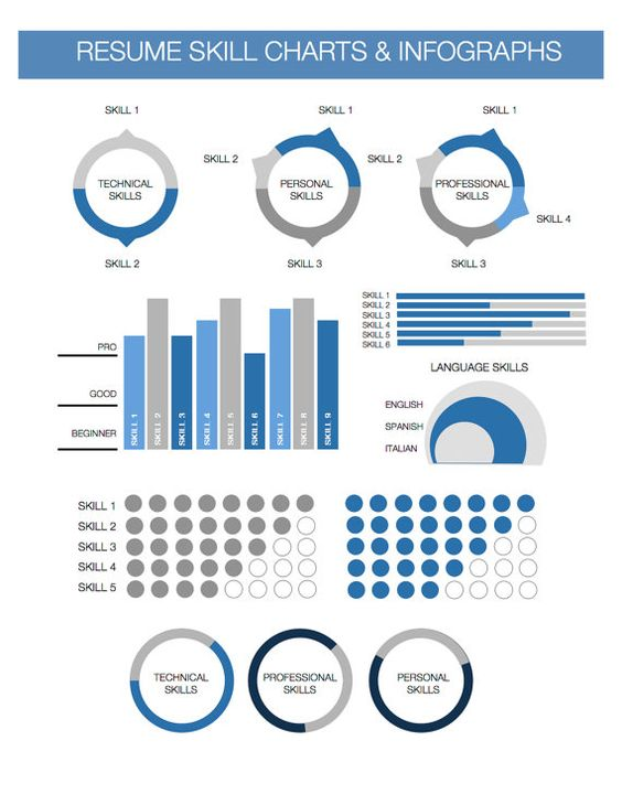 Bar Graphs Infographics for Microsoft Word Instant Download Resume - resume personal skills