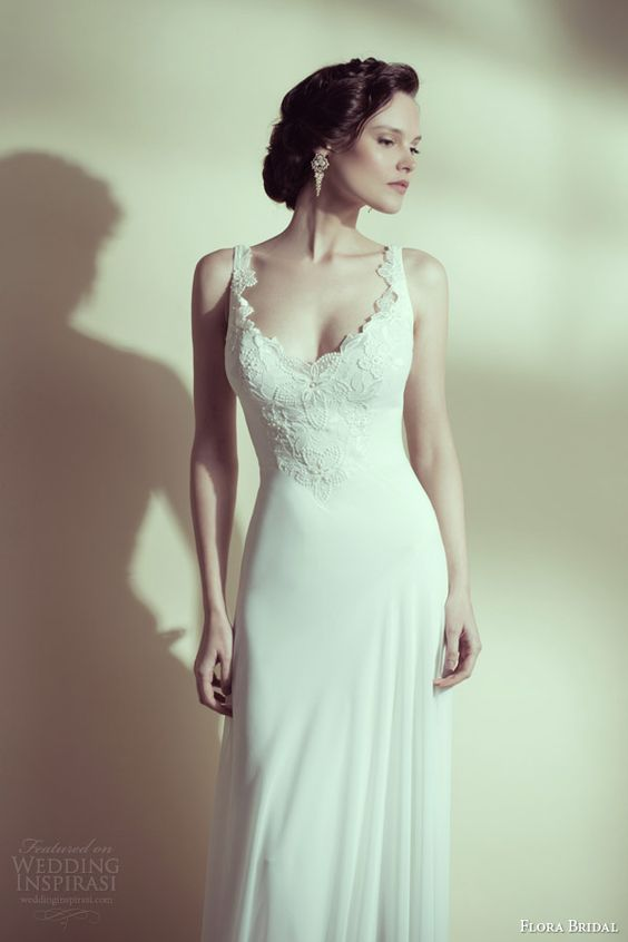flora bridal 2014 anna sleeveless sheath wedding dress scalloped lace edge neckline
