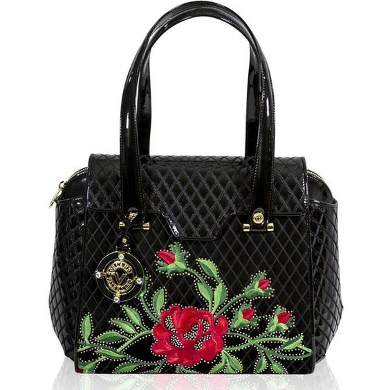 Valentino Orlandi Italian Designer Roses Embroidered Black Quilted Leather Bag