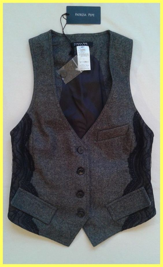 NWT PATRIZIA PEPE FIRENZE GREY GRAY WOOL WITH LACE TRIM TOP VEST IT 40 US 2 XS #PatriziaPepe