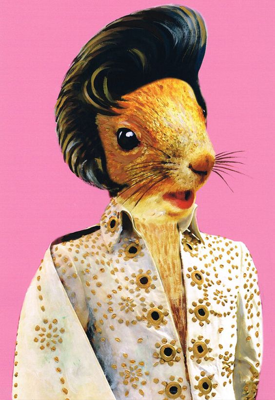 Elvis Presley Squirrel Art Print Illustration by bobogalerie, $15.00: