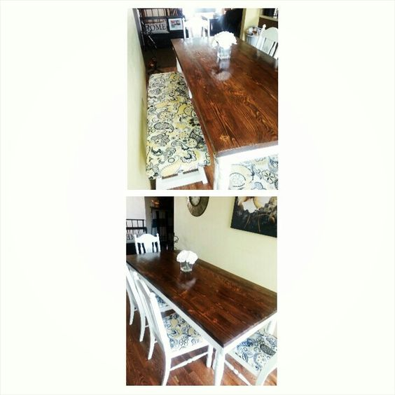 Refurnished table my roommate did! looks awesome.