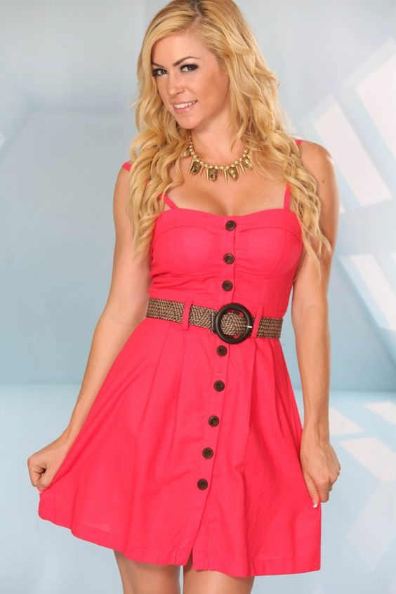 CORAL CHIFFON RUFFLED SLEEVELESS BUTTON DOWN DRESS,Cute & Trendy ...