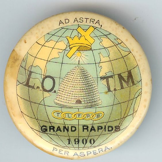 Pin for 'Ladies of the Maccabees', a masonic/benevolent organization based in Port Huron. (Ad astra per aspera means 'To the stars through the rough/difficulties') - 1900