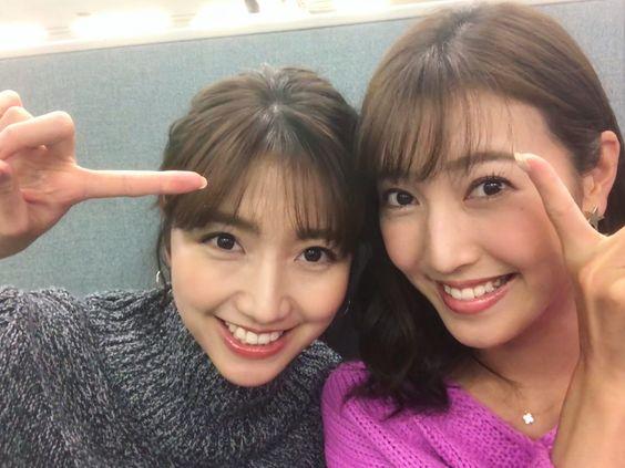 小澤陽子さんとツーショットの三田友梨佳アナの画像
