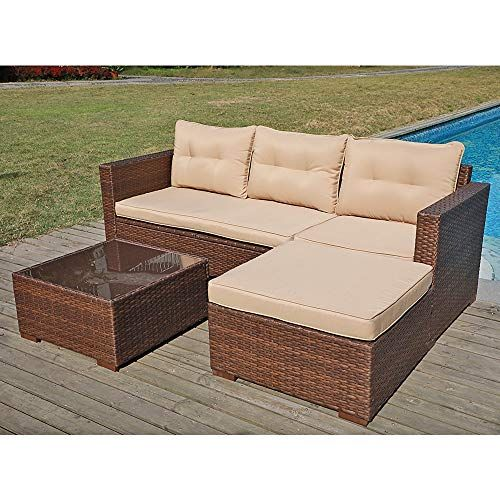 See Sunsitt Outdoor Sectional Sofa 4, Patio Furniture 3 Piece Sectional Sofa Resin Wicker Beige