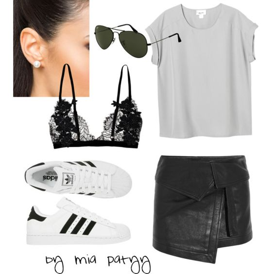Sporty Gear by mia7paty on Polyvore featuring Monki, Isabel Marant, NLY Accessories, Ray-Ban and adidas