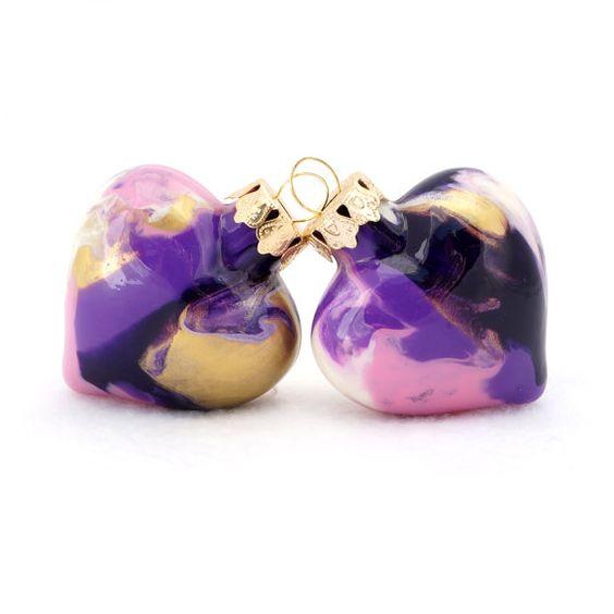 Handpainted Glass Heart Keepsake - One of a Kind Wedding Gift Keepsake Collectible - Gold Lavender Royal Purple Pink