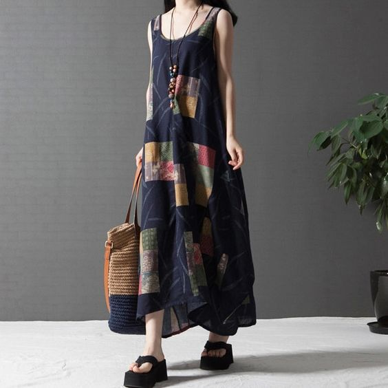 Summer Women Plus Size Maxi Dress Vestidos Femininos Loose Desigual Cotton Linen Vintage Dress Female Retro Casual Long Dress