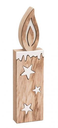 Deko Holz Kerze Natur Weiss Weihnachten Weihnachtliche Deko