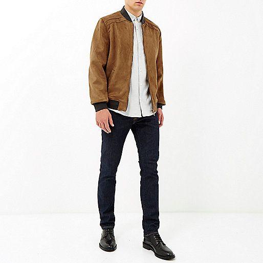 Brown faux-suede jacket - bomber jackets - coats / jackets - men