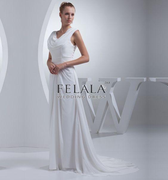 Elegant Chiffon A Line Long White Formal Evening Dress