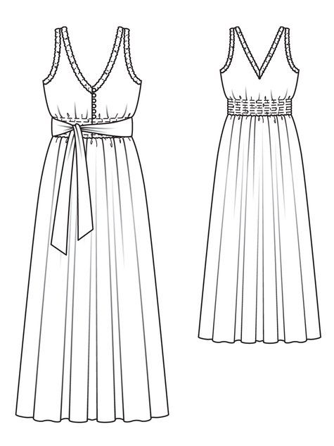 Smocked Maxi-Dress 04/2013 -125 - Sewing patterns- Dress sketches ...