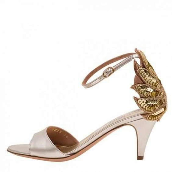 Champagne and gold 2 inch heels | Mother of Bride | Pinterest