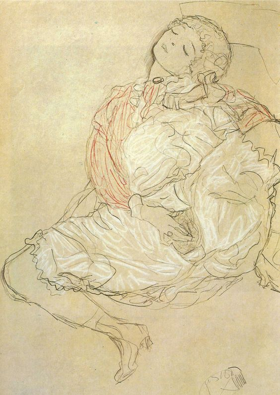 Egon Schiele and Gustav Klimt were a integral part of my first year in art college. I was seduced by their use of line and the visceral sexuality. Time passed and I moved with Conceptualism...I am now once again drawn back to them.  Sitting woman with spread legs, Gustav Klimt - 1916/1917
