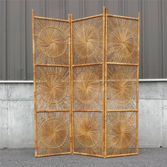 Vintage Wicker Rattan Folding Screen Room Divider