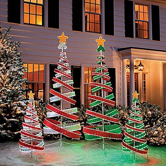 Christmas Trees Decorated Outside