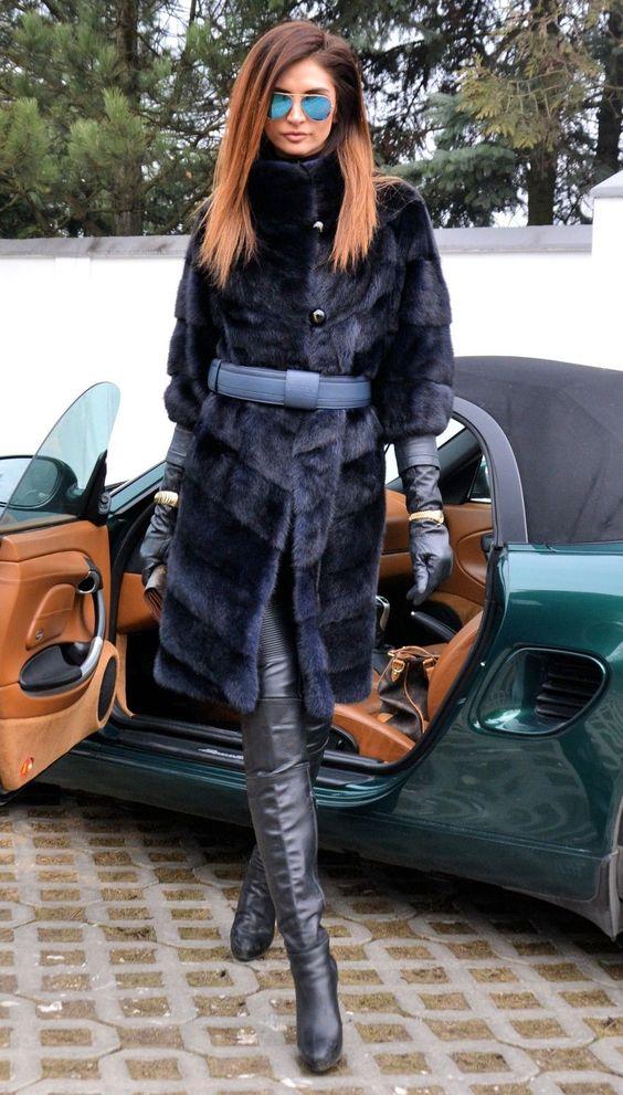 Modern mink fur coat