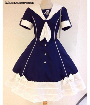 [Pre-order] Sweet Sailor Dress (Solid Line Color)