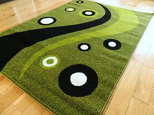 Details About Large Small New Modern Design Rugs Lime Green Black