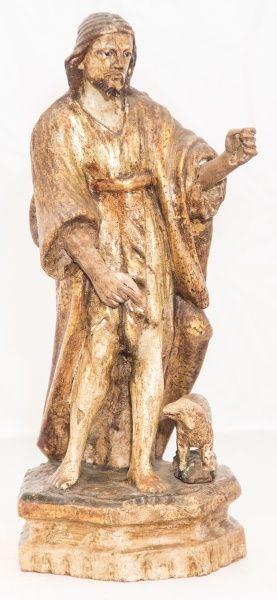Imagem de madeira policromada, São João Batista. Bahia, século XIX. Alt. 28 cm. Não vendido. Base 450,00.