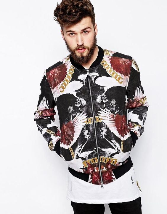 Multi colored Print Bomber Jacket by Religion. Buy for $174 from Asos