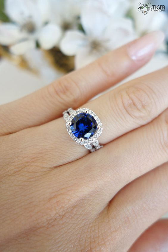 2.25 Carat Halo Wedding Set, Vintage Inspired Bridal Rings, Man Made Blue Sapphire & Diamonds, Art Deco Engagement Rings, Sterling Silver:
