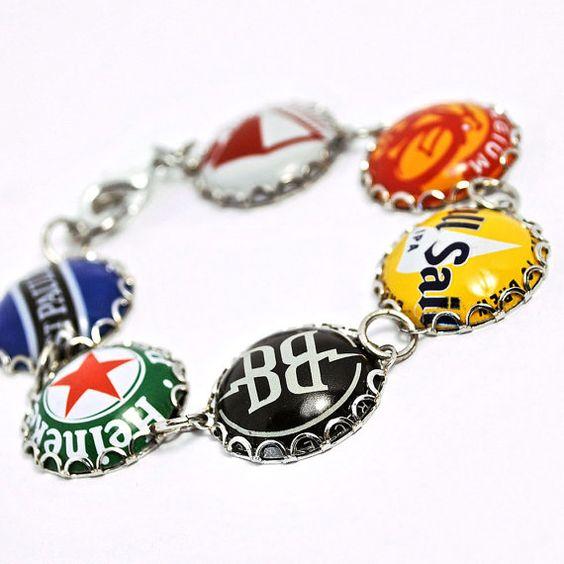 Recycled Jewelry Bottle Cap Bracelet by wearwolf on Etsy, $40.00