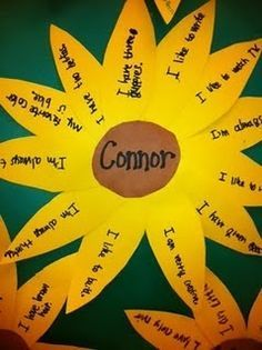 """end of the year"" activity. Other students will fill in the petals with compliments toward the name inside! I LOVE IT!"