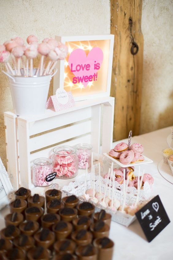 Süße Sweet Table Inspiration in rosa und weiß   Hochzeitsblog - The Little Wedding Corner