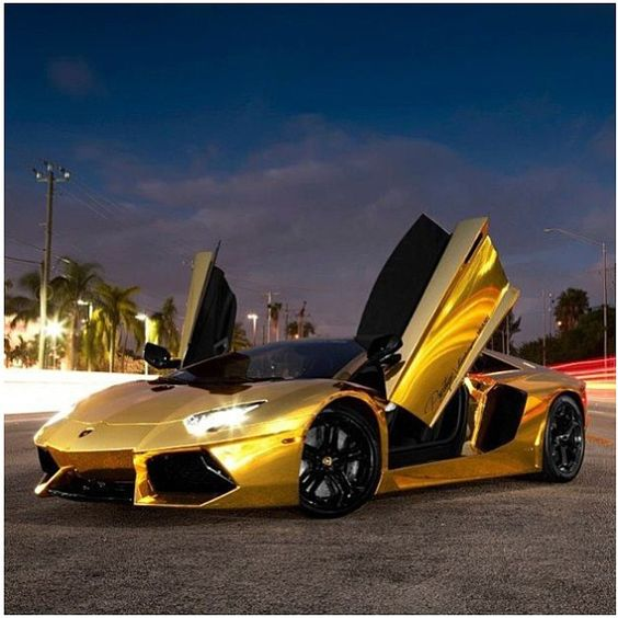 Gold Lamborghini Aventador. How Many People Would Ride In
