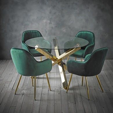 Capri Glass Top Dining Table 4 Green Velvet Dining Chairs With Gold Legs Furniture123 Green Dining Chairs Velvet Dining Chairs Glass Top Dining Table